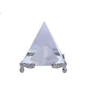 Pirâmide de Vidro Base Prata - M