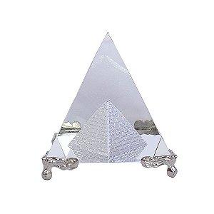 Pirâmide de Vidro Base Prata - G