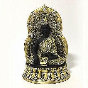 Buda Tibetano Meditando Trono Strass