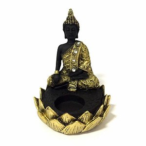 Porta Vela Buda Meditando Flor de Lótus