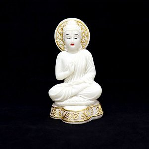 Buda Sentado Meditando Branco