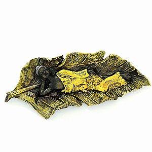 Buda Deitado na Folha Dourada - Parede