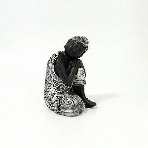 Buda Recostado Preto com Prata