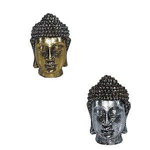 Cabeça Buda Tibetano Prata e Dourado