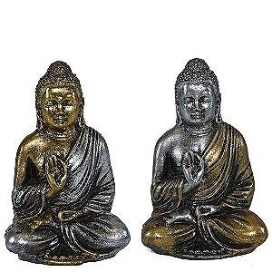 Estátueta de Buda Tibetano Prata e Dourado