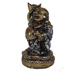 Buda Sorridente da Fortuna Prata e Dourado