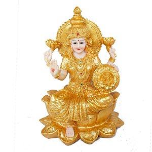 Estatueta Lakshmi Flor de Lótus Dourada