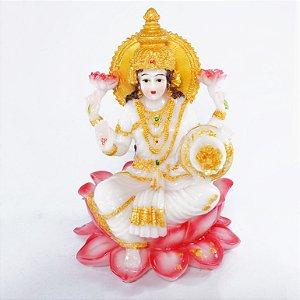 Estatueta Lakshmi Flor de Lótus Colorida