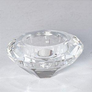 Porta Vela de Vidro Modelo Diamante
