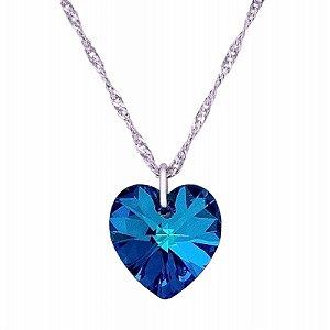 Gargantilha Coração Bermuda Blue 10mm