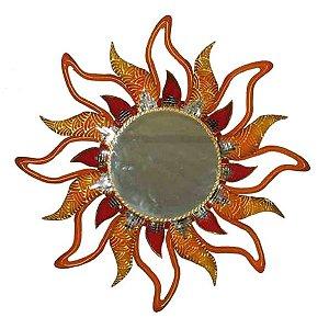 Mandala Sol Vazado com Espelho - MDF