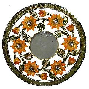 Mandala Girassol com Espelho - MDF