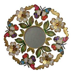 Mandala Espelho Borboletas e Flores com Espelho - MDF