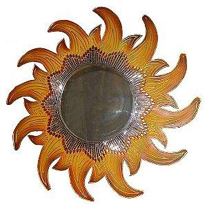 Mandala Sol Laranja com Espelho - MDF
