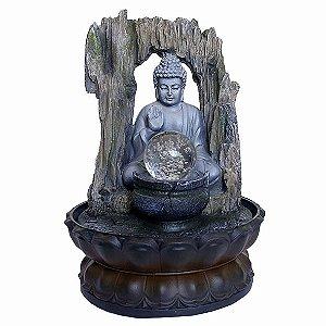 Fonte Buda Tibetano Trono com Bola de Cristal