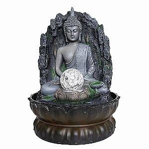 Fonte Buda Meditando Trono e Bola de Cristal