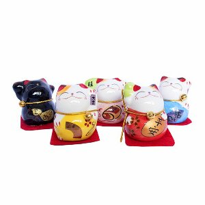 Kit Maneki Neko Coloridos com 5 Unidades
