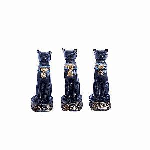 Trio Estatueta Egípcia Gato Bastet 7 Cm