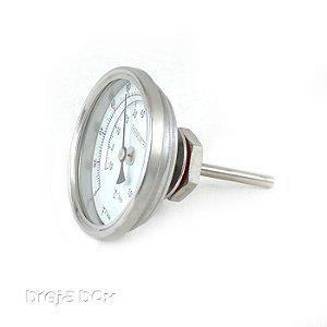 Termômetro bimetálico em inox para panela cervejeira Breja Box
