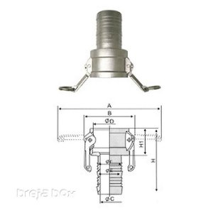 Acoplador com espigão em inox para engate rápido CAMLOCK tipo C | Breja Box