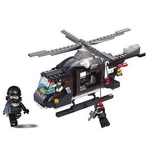 Blocos de Montar Policia Helicóptero de Combate compatível Lego 219 Peças