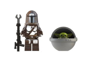 Boneco Mandaloriano e Baby Yoda Berço Star Wars Lego Compatível (Armadura Beskar e Jetpack)