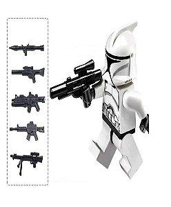 Boneco Clone Trooper branco Star Wars Lego Compatível c/ 6 Armas (Edição Deluxe)