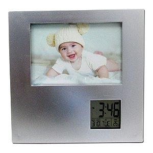 1 Porta Retrato Prata com relógio Digital, Data, Alarme e Termômetro