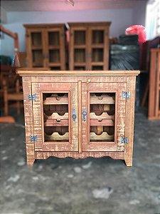 Armário Adega Em Madeira De Demolição Porta Garrafas