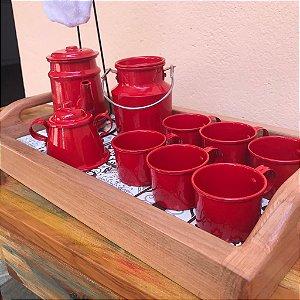 Bandeja com Ladrilho + Kit Decorativo Cantinho do Café Vermelho