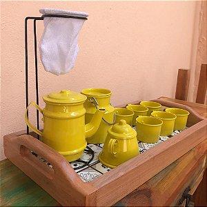 Bandeja com Ladrilho + Kit Decorativo Cantinho do Café Amarelo