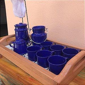 Bandeja com Ladrilho + Kit Decorativo Cantinho do Café Azul