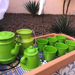 Bandeja com Ladrilho + Kit Decorativo Cantinho do Café Verde