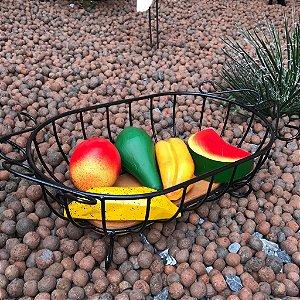 Fruteira de Mesa em Ferro e Madeira + Frutas de Madeira