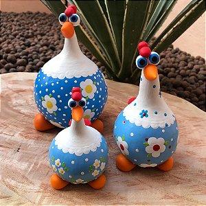 Kit Galinhas Decorativas Em Cabaça Azul