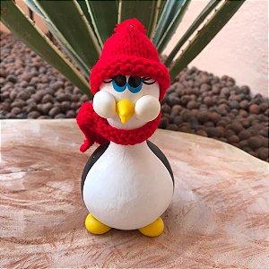 Pinguim Feliz Decorativo Cabaça Preto/Vermelho