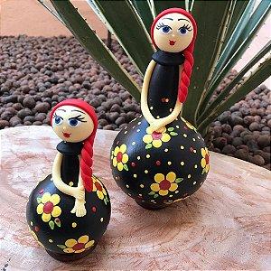 Boneca Duplinha Decorativa Cabaça Ruiva