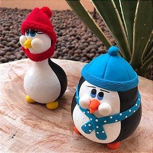 Pinguim Duplinha Decorativo Cabaça Rustico