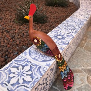 Escultura Pavão Macho Em Madeira Bruta