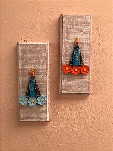 Kit Quadro Decorativo Nossa Senhora Aparecida Em Madeira