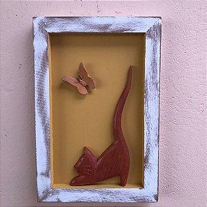 Quadro Decorativo Gato e Borboleta Fundo Amarelo