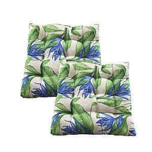 Almofada Futon Floral Verde 40x40 Kit 2