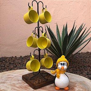 Mancebo Ferro Com Canecas Amarelas + Brinde