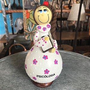 Boneca Decorativa Profissões Psicóloga Cabaça