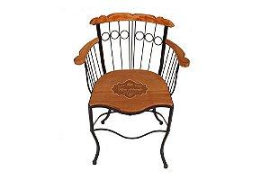 Cadeira Fixa com Braço - Ferro e Madeira