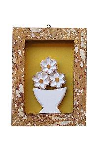 Quadro de jarro com flores fundo Amarelo