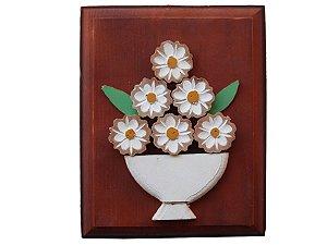 Quadro de jarro com flores fundo Marrom