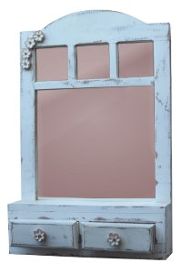 Janela espelho com duas gavetas branco