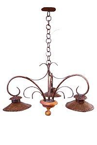 Lustre em ferro e madeira 3 lâmpadas