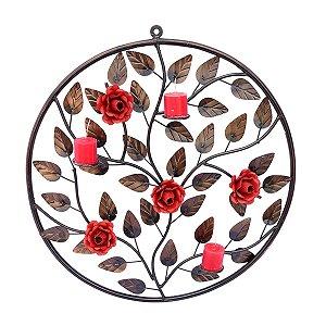 Mandala Porta Vela Com Flor - Preço Imperdível